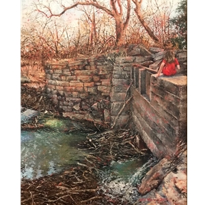 """Cora visits Cottonwood Falls"" by Gil Russell"
