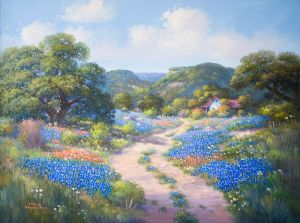 Bluebonnets on Road, Original by Loveta Strickland
